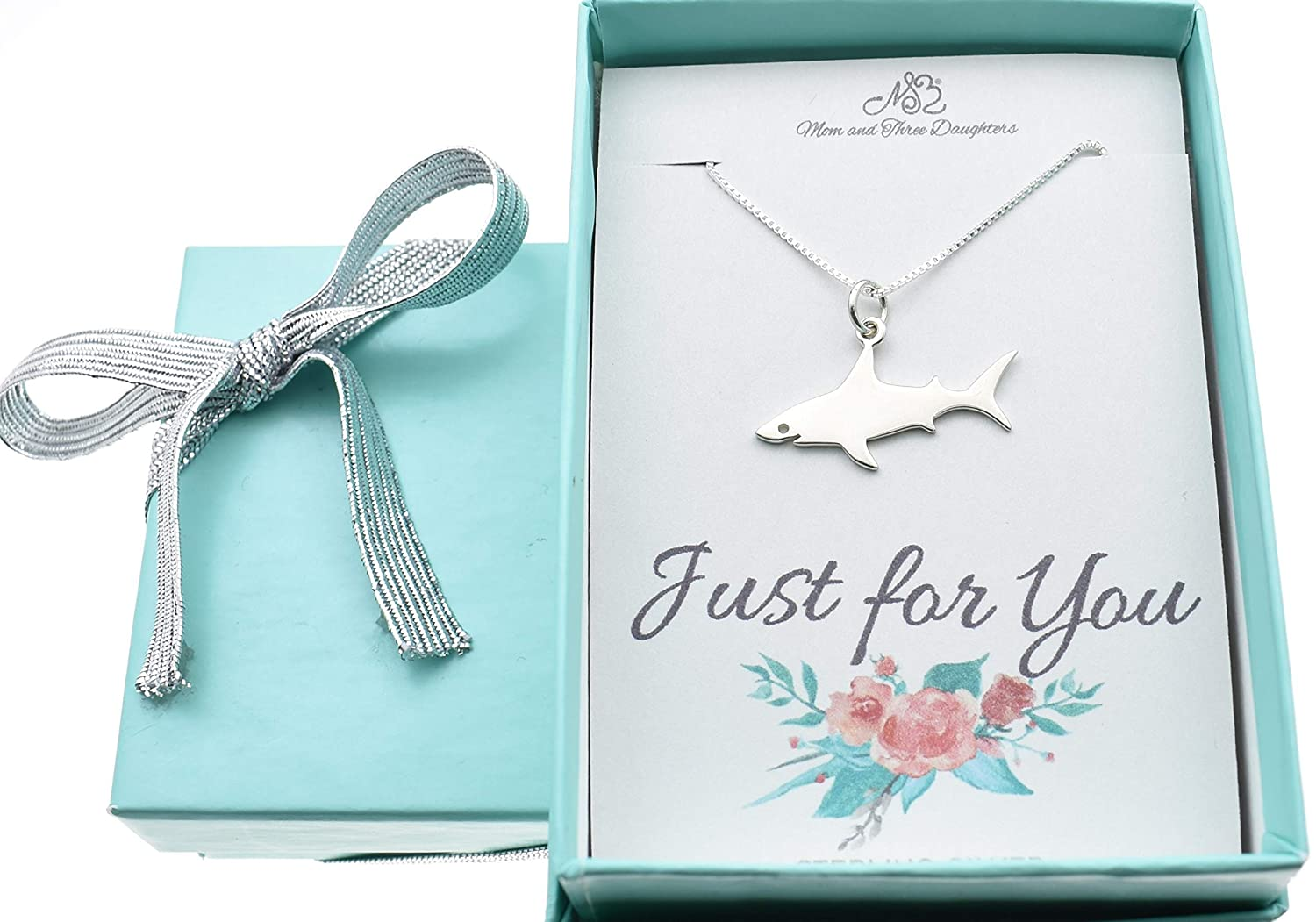 Silver Shark Charm Women's Necklace in Solid .925 Sterling Silver | Handmade 16 Inch Chain Box | Durable, Scratch Resistant Jewelry | Fabulous Gift for Girls or Teens