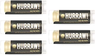 product image for Hurraw! Sun Lip Balm (SPF 15 Protection, Tangerine, Chamomile), 5 Pack: Organic, Certified Vegan, Cruelty and Gluten Free. Non-GMO, 100% Natural Ingredients. Bee, Shea, Soy and Palm Free. Made in USA