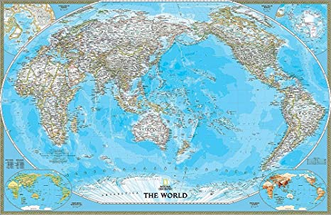 National Geographic's Pacific-Centered Political World Map ... on europe shaded on a world map, national geographic world mural map, national geographic language world map, national geographic world map wallpaper, national geographic framed world map, national geographic large world map,