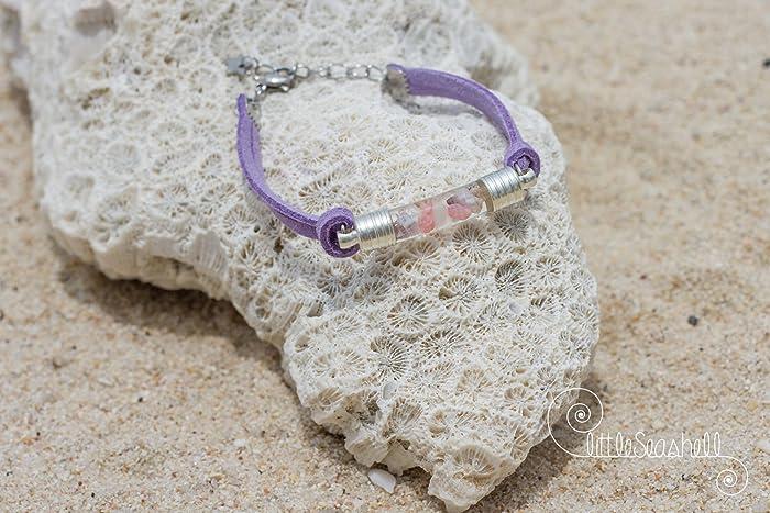 Pulsera fina pulsera de cristal para mujer mar y conchas pulsera ...
