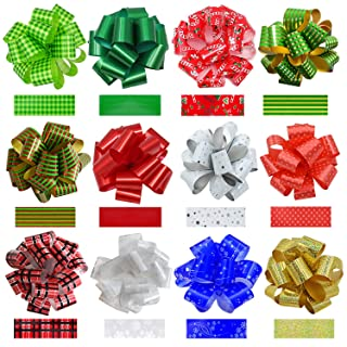 """Pack of 24PCS Christmas Gift Wrap Ribbon Pull Bows, 12 Large 7.5"""" & 12 Medium 5"""", Easy and Fast Gifts Wrapping Accessory for Gifts Box, Basket Knot, Christmas Tree, Holiday Present Decoration"""
