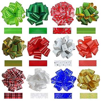 Amazoncom Pack Of 24pcs Christmas Gift Wrap Ribbon Pull Bows 12