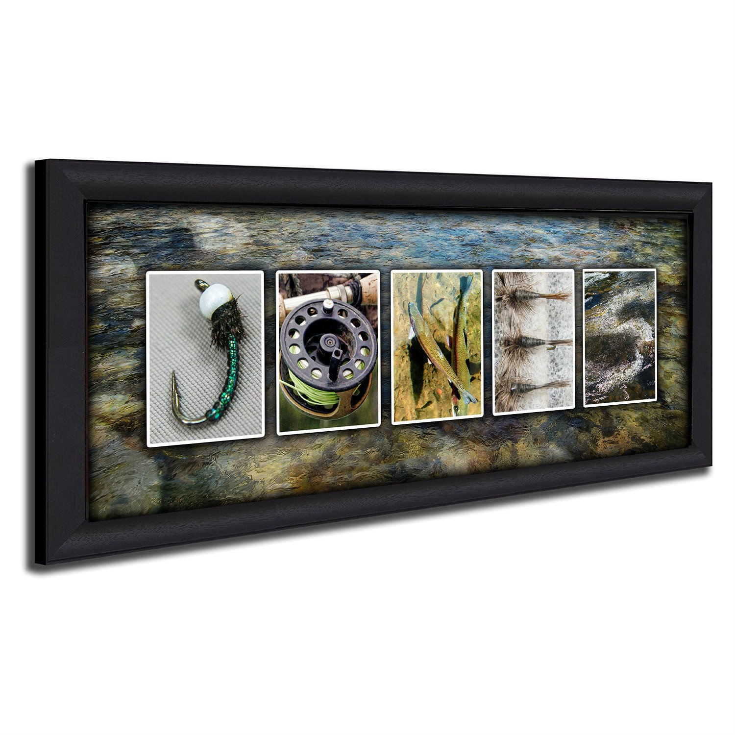 Personalized Fly Fishing Name Art - Perfect for the fly fisher, man cave, office, or boys room! (Framed Canvas - 13.5 x 32.5)