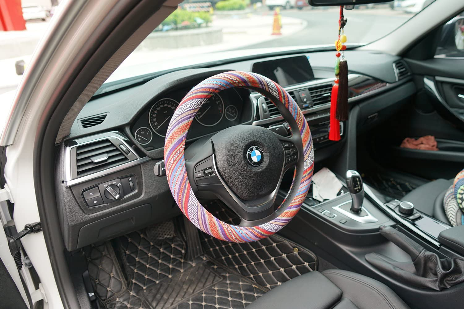 Amazon coupon code for Boho Universal 15inch Sweat Absorption Steering Wheel Cover