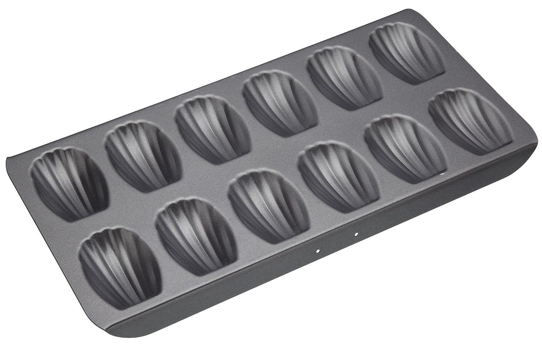 Kitchen Craft Master Class - Madeleine Pan Tray - Non-Stick Dishwasher Oven Fridge and Freezer Safe - Steel - 12 Hole KCMCHB66