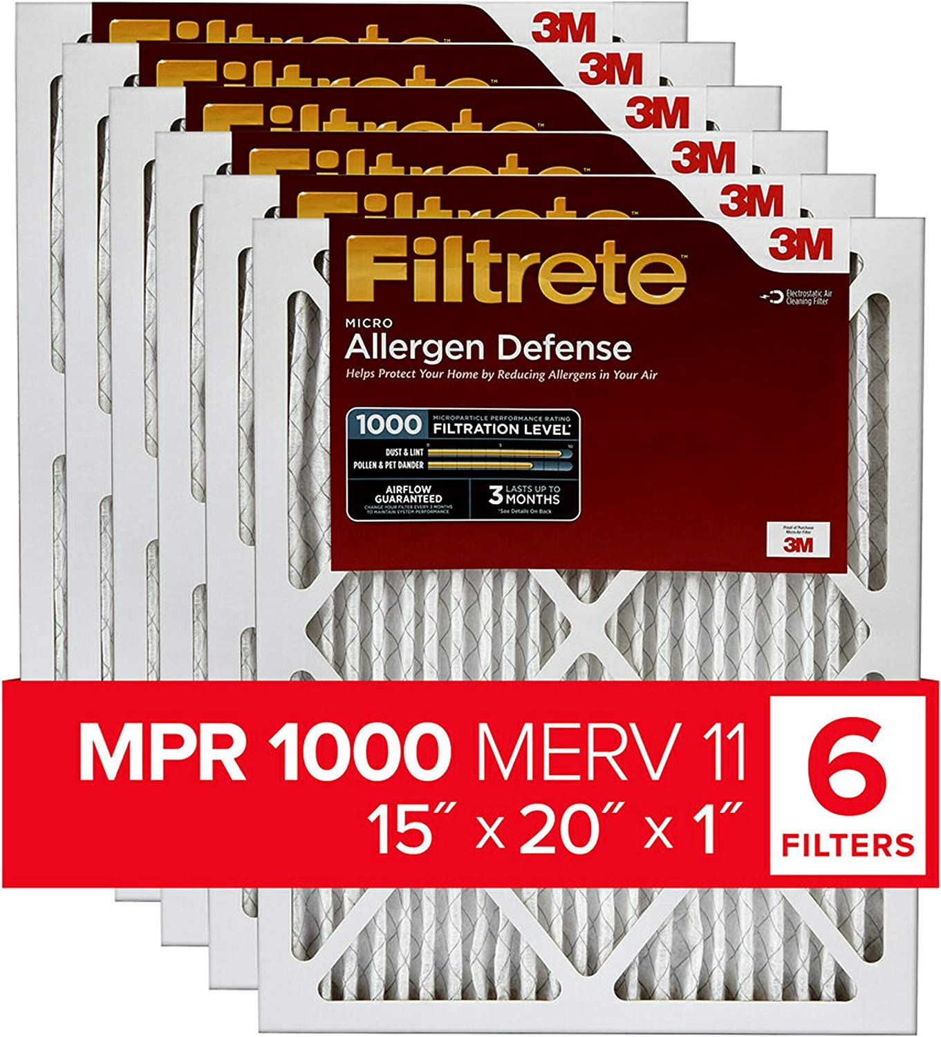 Micro Allergen Defense exact dimensions 11.81 x 19.81 x 0.81 6-Pack Filtrete 12x20x1 MPR 1000 AC Furnace Air Filter
