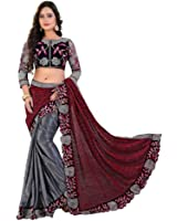 Siddeshwary Fab Women's Lycra Saree With Blouse Piece ( blue Red )