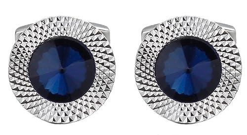 9da85011e729 Cufflinks Direct Sapphire Blue Swarovski Crystal Gem Stone Mens Gift Cuff  Links (Cufflinks with Gift