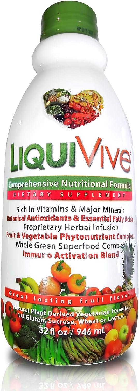 LiquiVive Liquid Vitamins Vegetarian Dietary Supplement Daily Multivitamin Superfood Green Juice with Vitamin A B12 C D E K NMN 99.9 Vegan Non-GMO Gluten Free 32 fl oz