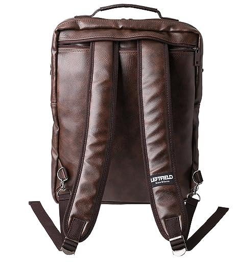 4b2aa2685101 Brown Laptop Backpack Messenger Tote Bags Synthetic Leather  Amazon.co.uk   Electronics