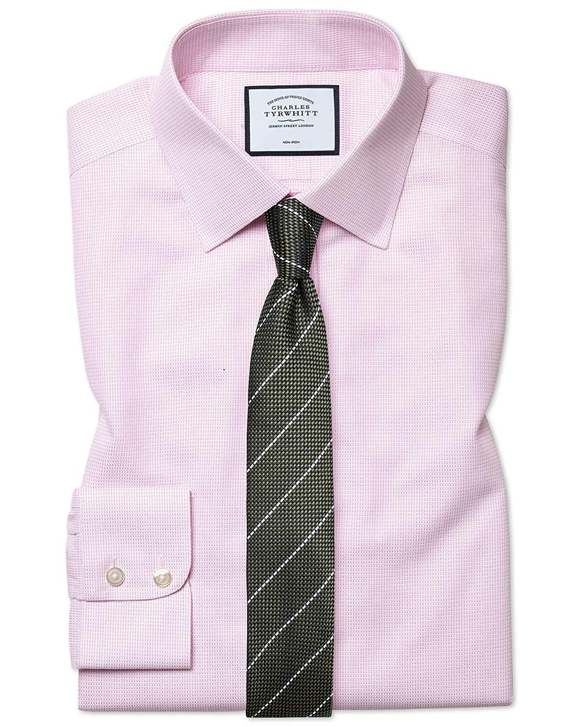 Chemise à Motif à Effet Tirets Rose Extra Slim Fit Sans Repassage   Rose (Poignet Simple)   15   33