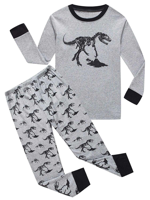 Dinosaur Big Boys Long Sleeve Pajamas Sets 100% Cotton Sleepwears Kids Pjs Size 12