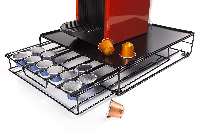 Caja met/álica para Guardar y organizar c/ápsulas de caf/é Irinuski Portac/ápsulas de caf/é Nespresso SIN c/ápsulas. Capacidad para 48 c/ápsulas compatibles con Nespresso.Color Negro