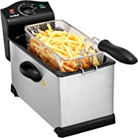 VonShef 3 Litre Stainless Steel Deep Fat Fryer with Viewing Window - Non-Stick, Easy Clean