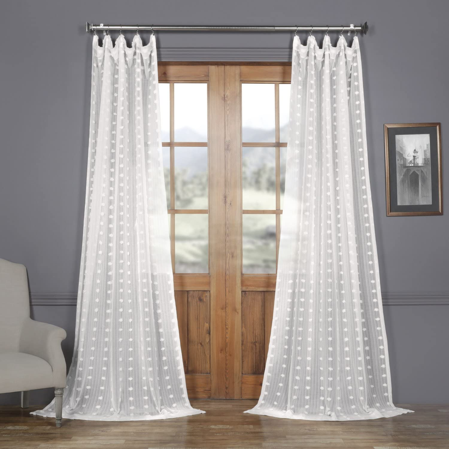 Butterfly Rod Pocket Curtain Panels set of 2. Butterfly Linen Fabric Two Natural Linen Panels 56 x 100