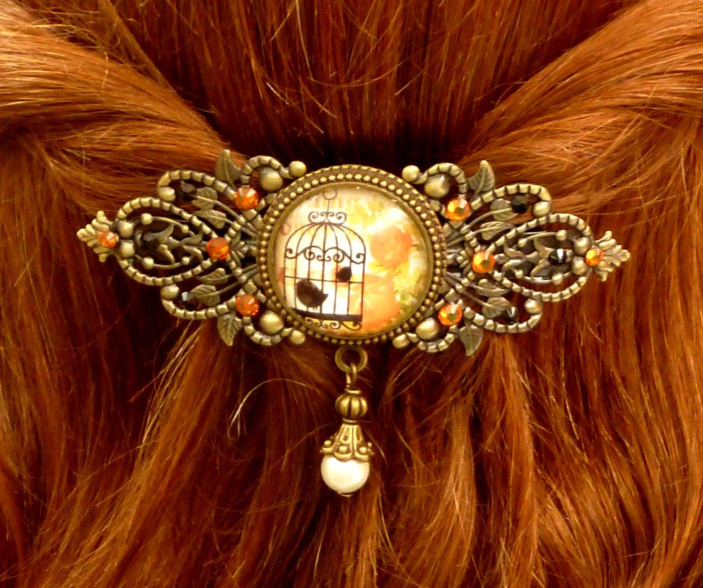 rande pince /à cheveux en bronze orang/é avec cage /à oiseaux et roses