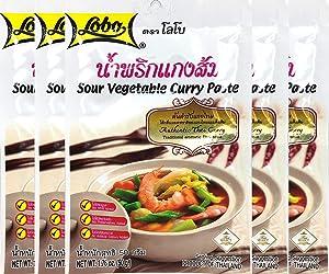 Lobo Sour Vegetable Curry Paste Thai Herbal Food 50 G (1.76 Oz) X 5 Bags