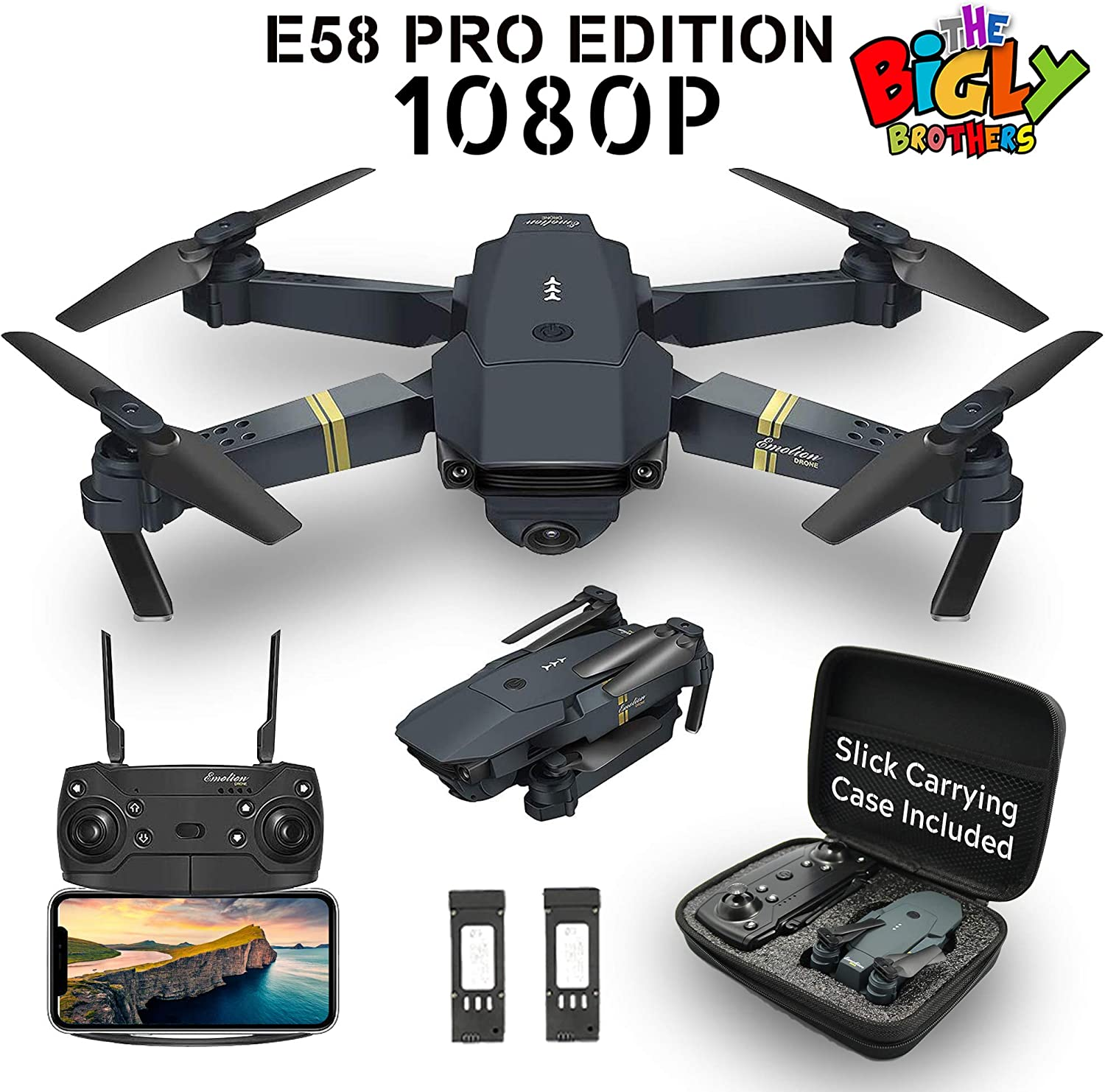 The Bigly Brothers E58 PRO Edition 1080P Drone with Camera 120 Wide Angle, Gesture Control, Altitude Hold, 1 Key Takeoff Landing, 1 Key 360 flip with Carrying Case - Extra 600mAh Battery