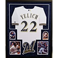 $425 » Christian Yelich Milwaukee Brewers Autograph Signed Custom Framed Jersey Majestic White Suede Matted Steiner Sports Certified