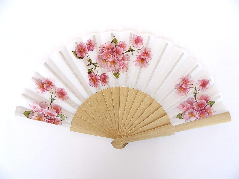 Abanico hecho a mano, tela y madera, flor de cereza, abanico ...