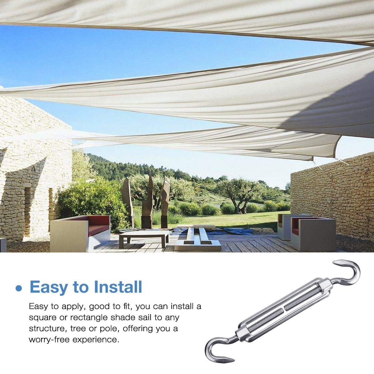 24 Pcs 6 Inches Sun Shade Sail Hardware Kit for Rectangle and Square Sun Shade Sail Installation 304 Stainless Steel for Deck Garden Lawn Patio