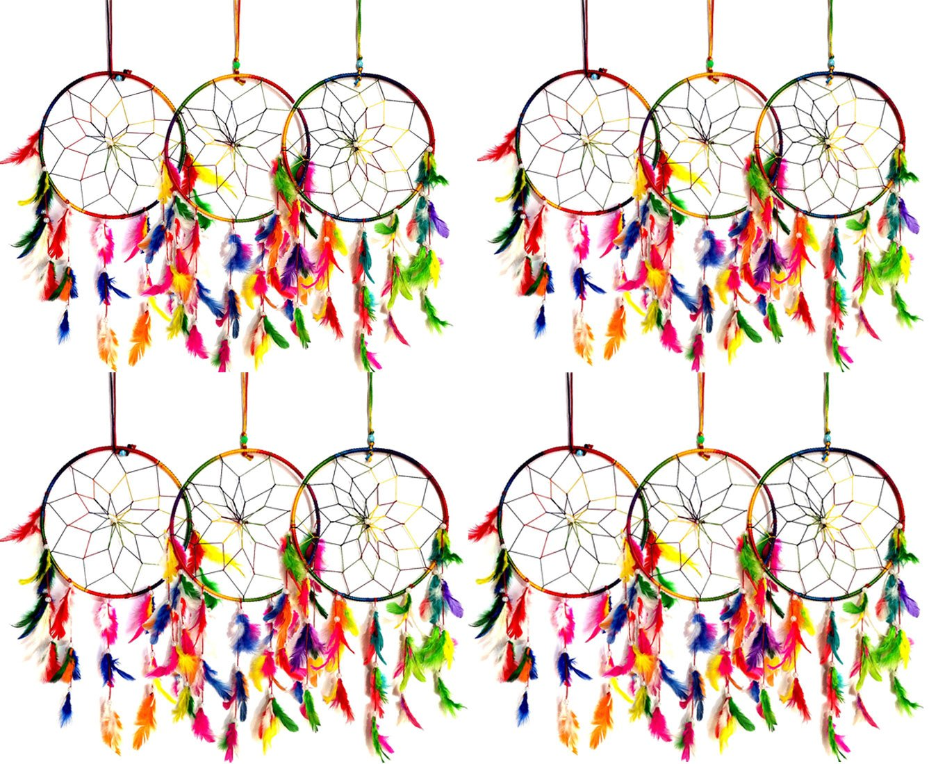 Set of 12 - Odishabazaar Multi Dream Catcher Wall Hanging - Attract Positive Dreams by Odishabazaar