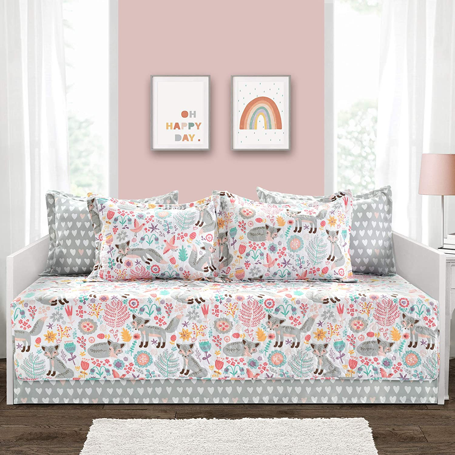 "Lush Decor Pixie Fox 6 Piece Daybed Cover Set, Gray & Pink, 39""x75"""