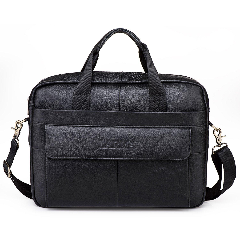 Men's Classic Top Cow Genuine Leather Business Handbag Briefcase Shoulder Messenger Satchel Bag For Laptop Macbook (Black)