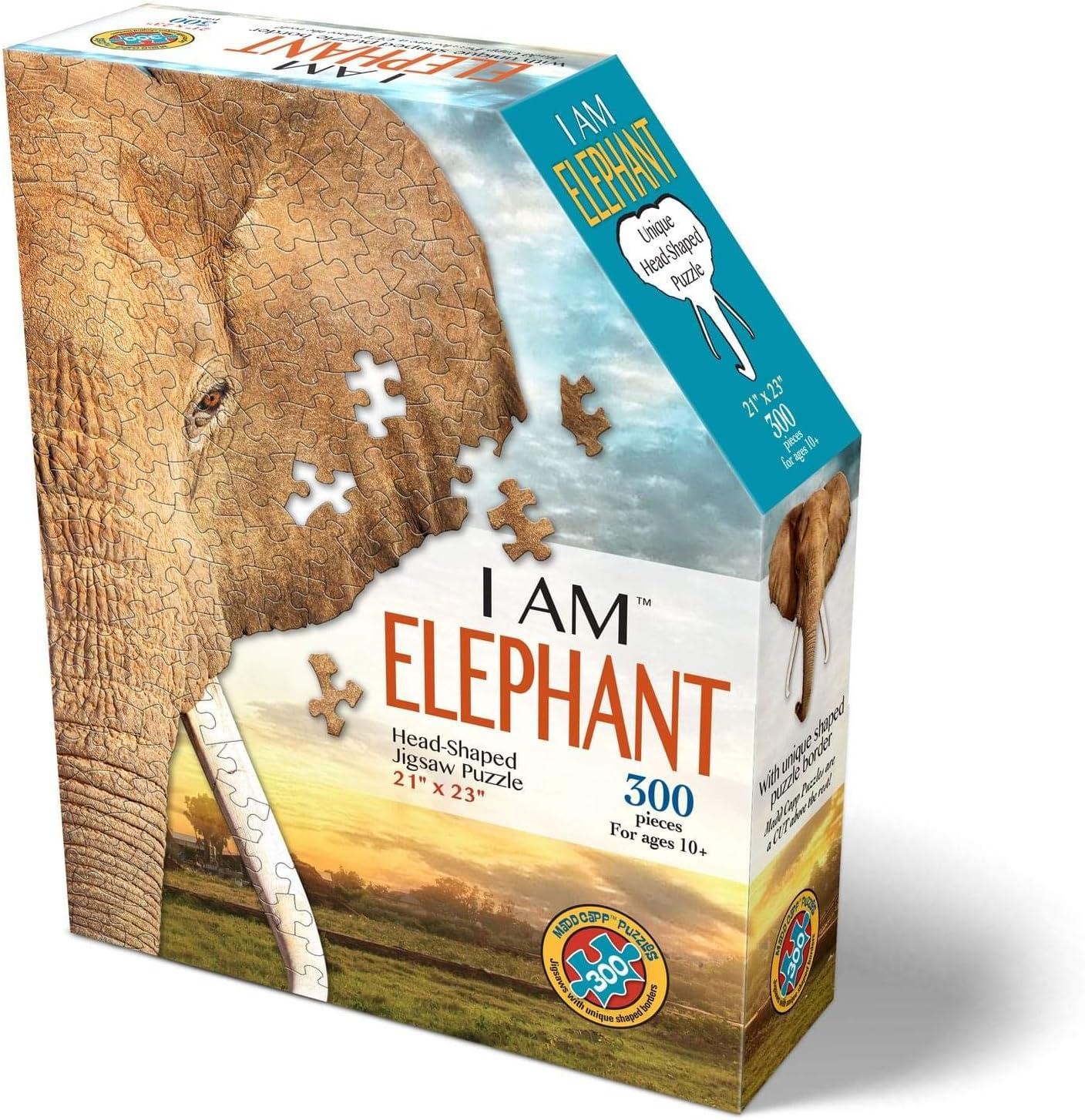 300 Pieces I AM Elephant Animal Shaped Jigsaw Puzzle Madd CAPP Puzzles