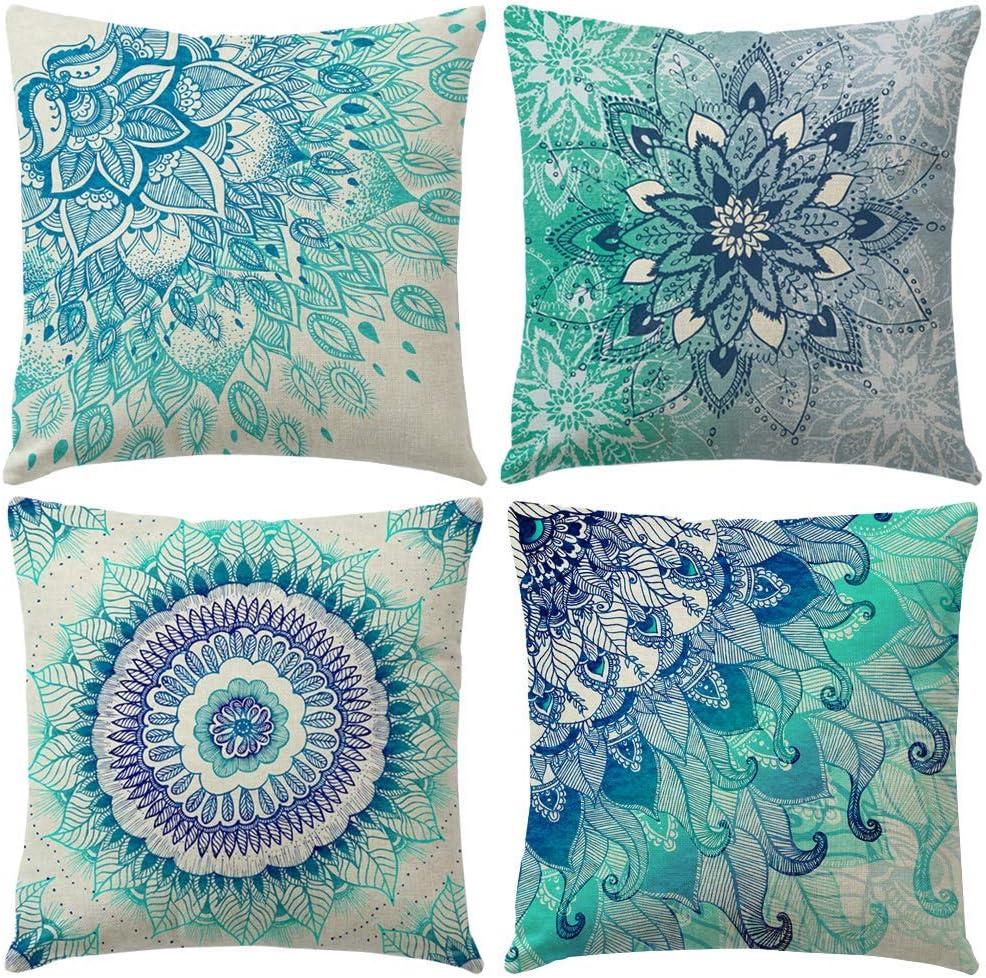 Gspirit 4 Pack Bohemia Mandala Algodón Lino Throw Pillow Case Funda de Almohada para Cojín 45x45 cm