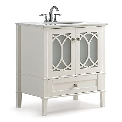 Superieur Simpli Home Paige 30 Inch Bath Vanity With White Quartz Marble Top Soft  White