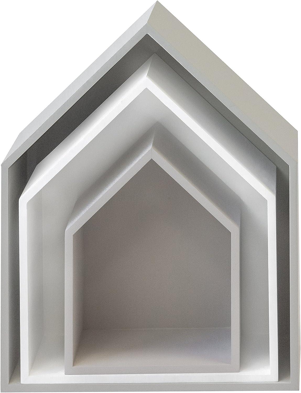 MUEMUE Maison B4 - Juego de 3 estantes, 37,5 x 29 x 12 cm, color blanco, gris, MDF