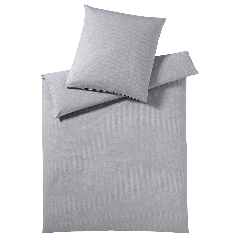 Elegante Soft-Flanell Bettwäsche Coventry Platin 135x200 cm + 80x80 cm