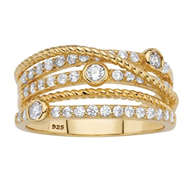 c7a82c1d5 Image Unavailable. Image not available for. Color: Seta Jewelry 14k Gold  Plated .925 Silver Multi Band ...