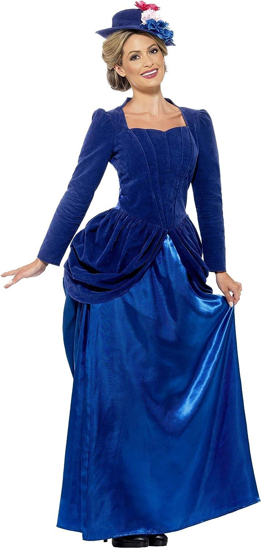 Smiffys Traje de Lujo de Arpía Victoriana, Azul, con Top, Falda y Sombrero