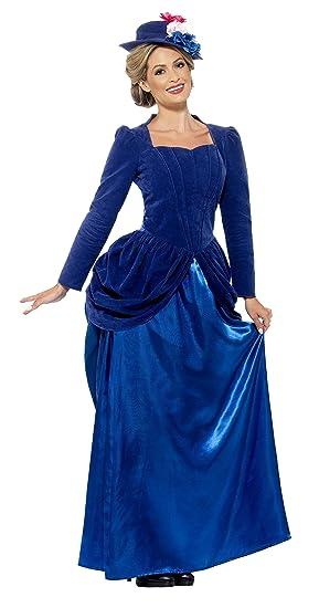 Smiffys - Traje de Lujo de Estilo Victoriano Vixen, Color Azul (43420S)