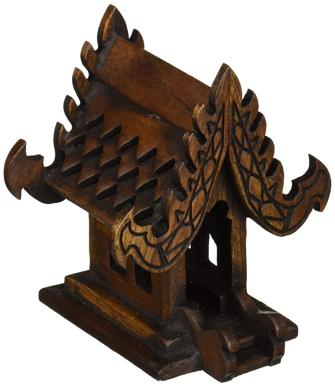 DDPremium Thai Buddhism Handmade Teak Wood Spirit (House, W4 xL3 xH5)