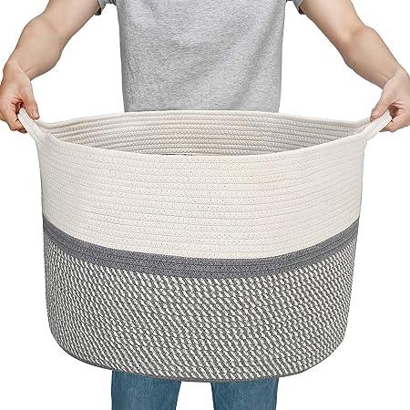 Cotton Rope Belly Basket La Jol/íe Muse Storage Basket Large Woven Laundry Basket Blanket Organizer for Baby Kids Home Decor Gift 40 x 38 CM
