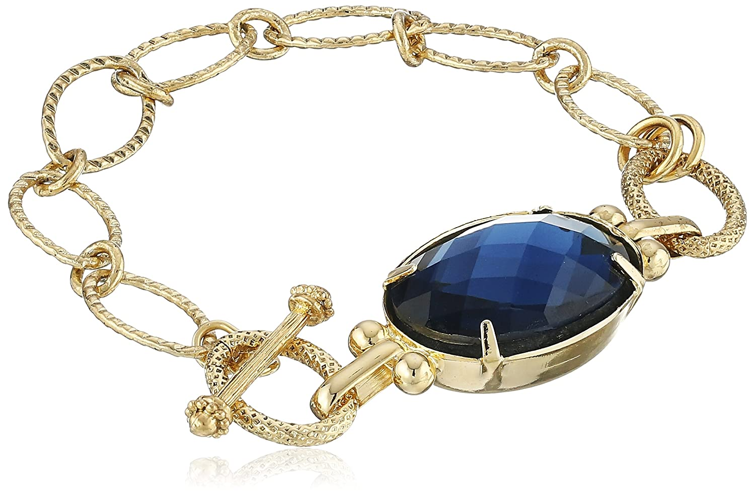 1928 Jewelry Gold-Tone Toggle Bracelet with Blue Pendant