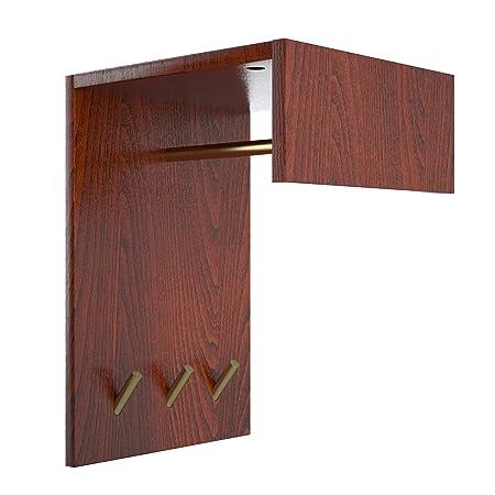 Perfecasa Svelte Solid Wood Coat Rack, Space Saving Wall Mounted Coat Rack, Creative Corner Coat Rack, Upper Shelf for Storage, Entryway, Foyer Hallway, Mini Coat Rack Classic Cherry