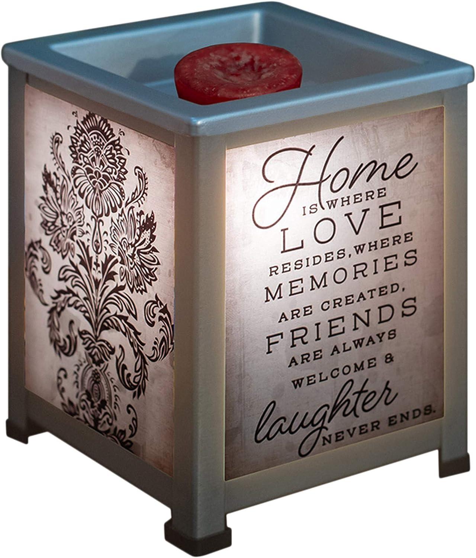 Elanze Designs Home is Where Love Resides Silvertone Metal Electrical Wax Tart & Oil Glass Lantern Warmer