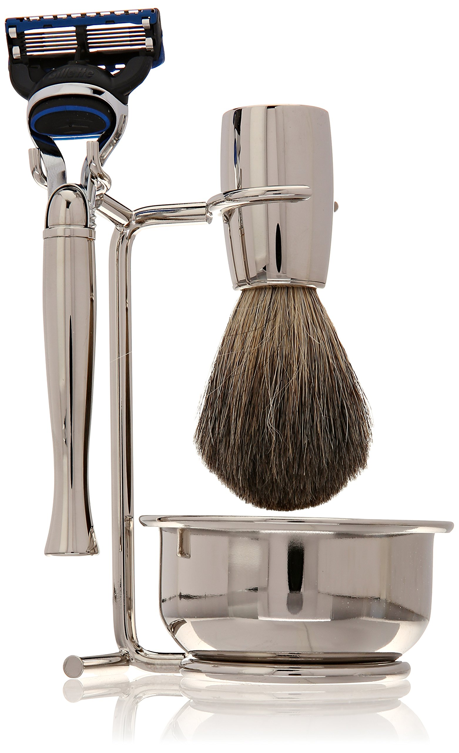 Swissco 5-Piece Shave Set,Nickel, Badger, Fusion Razor, Bowl & Soap, 23.5-Ounce Box