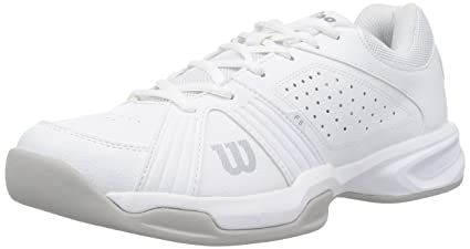 Womens Rush Swing W White Tennis Shoes, White/Steel Grey/Silver Wilson
