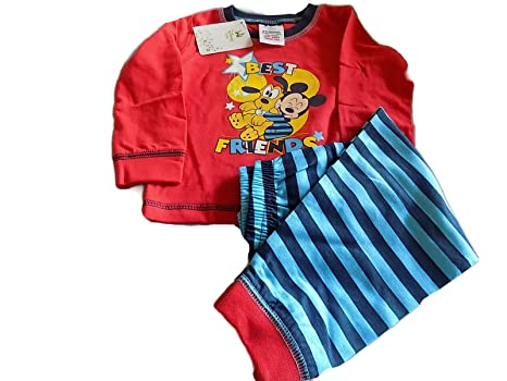 Disney Baby Niños mejor amigos Mickey Mouse pijama Red Top & Blue Stripe Bottoms Talla: