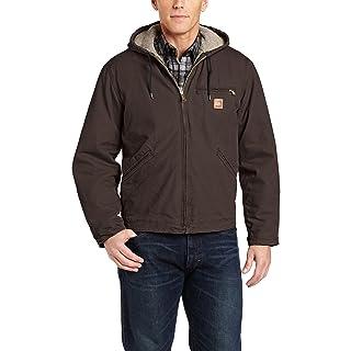 Carhartt Men's Big & Tall Sherpa Lined Sandstone Sierra Jacket J141,Dark Brown,X-Large Tall