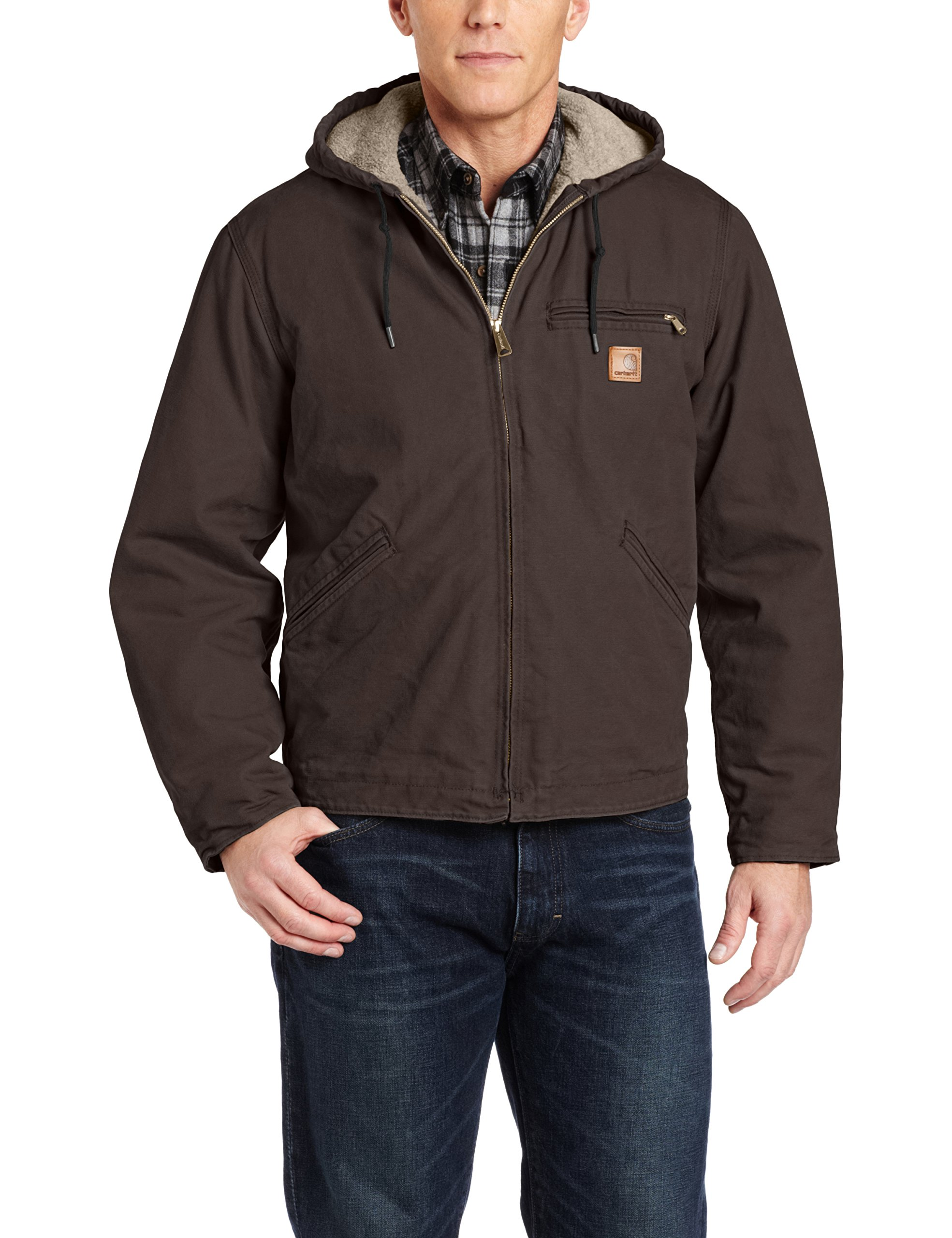 Carhartt Men's Sherpa Lined Sandstone Sierra Jacket J141,Dark Brown,Large