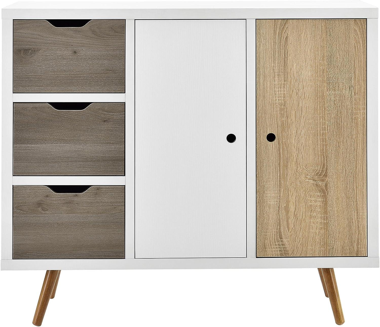 en.casa] Cómoda Moderna con 3 cajones y 2 Puertas Diseño Retro (100x39x86cm) Blanco y Roble: Amazon.es: Hogar
