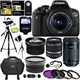 Canon EOS Rebel T6i Digital SLR EF-S 18-55mm IS STM Lens + Canon EF-S 55-250mm + Polaroid 58mm .43x Wide Angle & 2.2X Lenses + Lexar 32GB 633x + Tripods + Polaroid 58mm Filter + Polaroid Accessory Kit