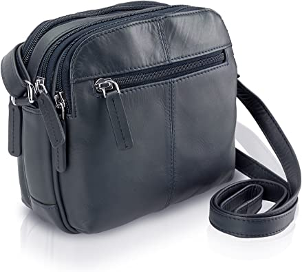 Ladies Genuine Leather Small Zip Round Purse in Black Tropical