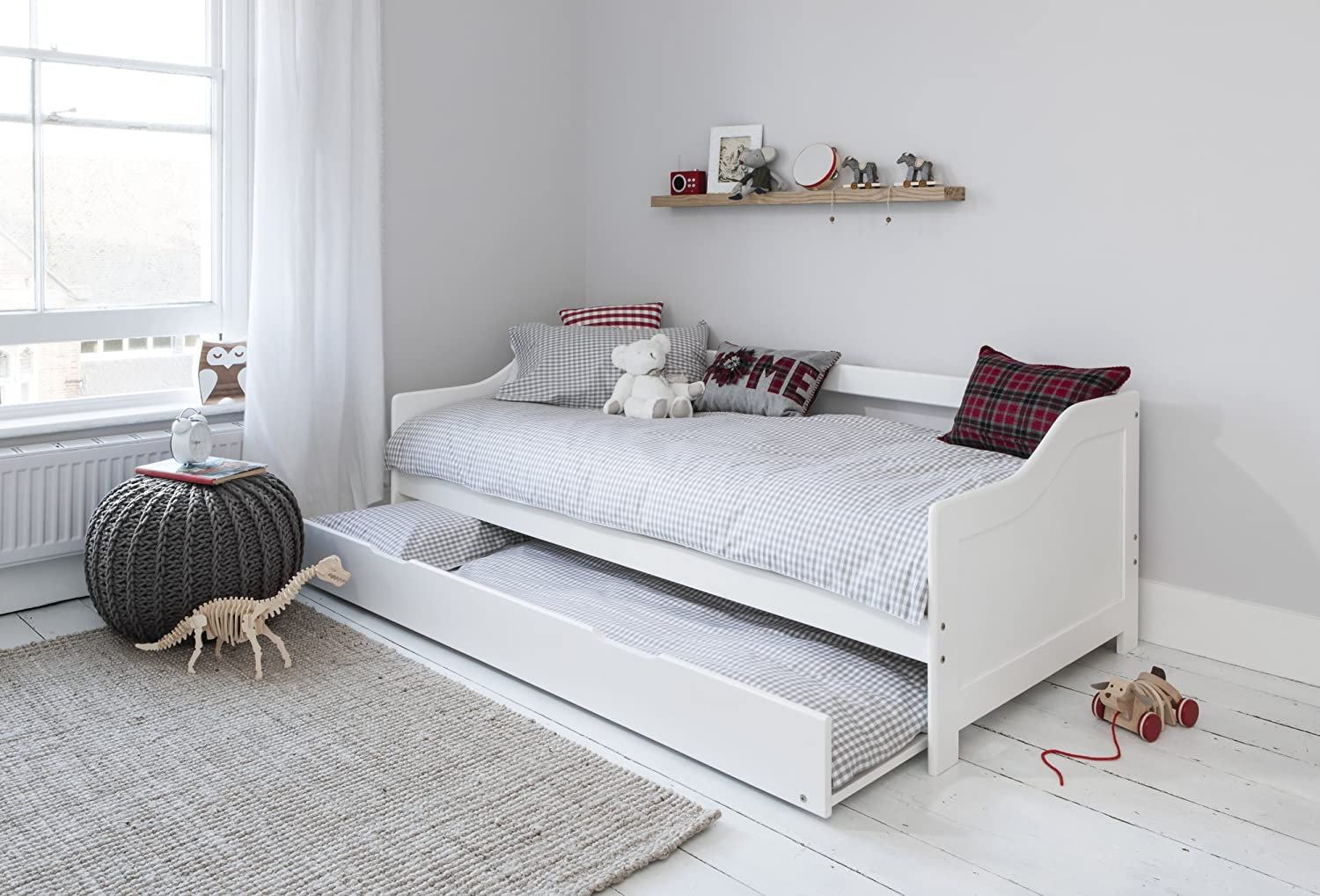 Day Bed Single Bed with Underbed In White 2 beds in 1: Amazon.co.uk:  Kitchen & Home
